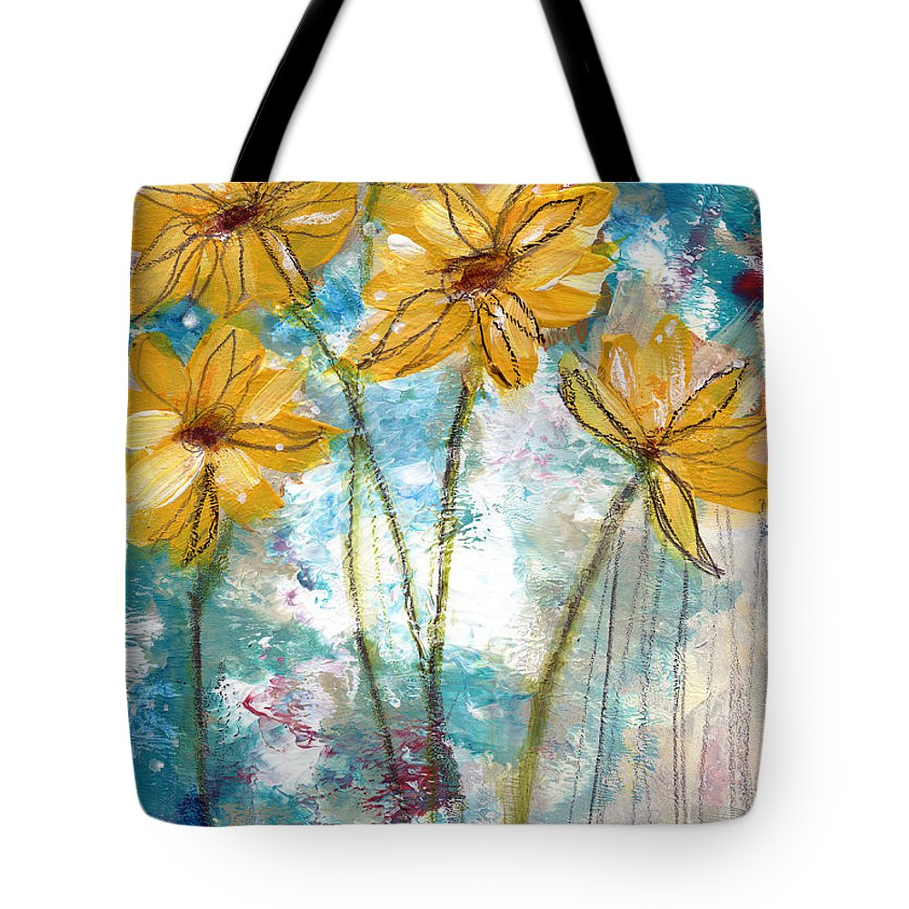 Sunflowers Tote Bag featuring the painting Wild Sunflowers- Art By Linda Woods by Linda Woods