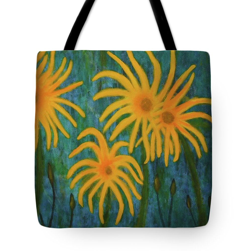 Yellow Tote Bag featuring the painting Wild Sunflowers by John Scates