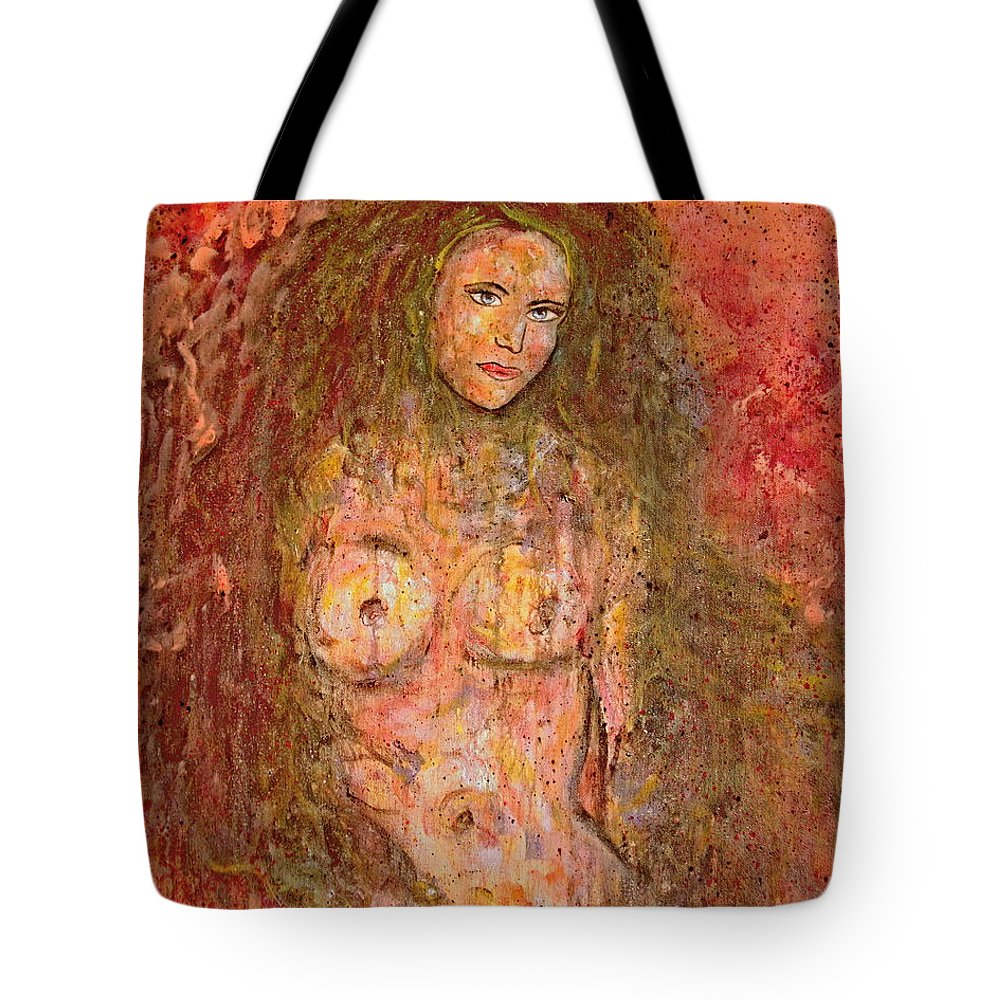 Nude Tote Bag featuring the painting Wild Thing by Natalie Holland