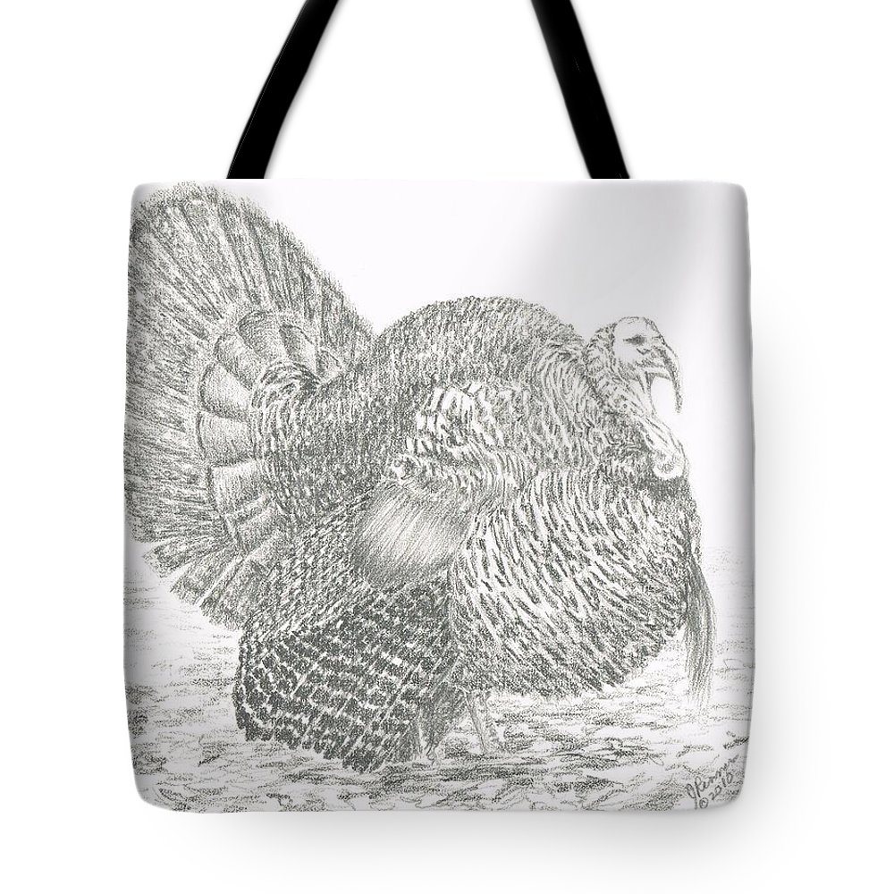 Wild Turkey Tote Bag featuring the drawing Wild Tom Turkey by Joann Renner