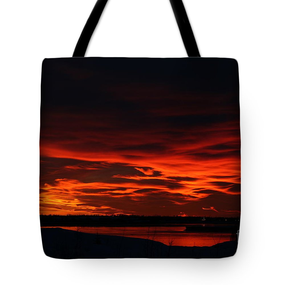Alaska Tote Bag featuring the photograph Wild Winter Sunset by Rick Monyahan