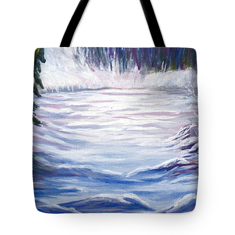 Northern Canada Winter Wilderness Forest Tote Bag featuring the painting Wilderness by Joanne Smoley