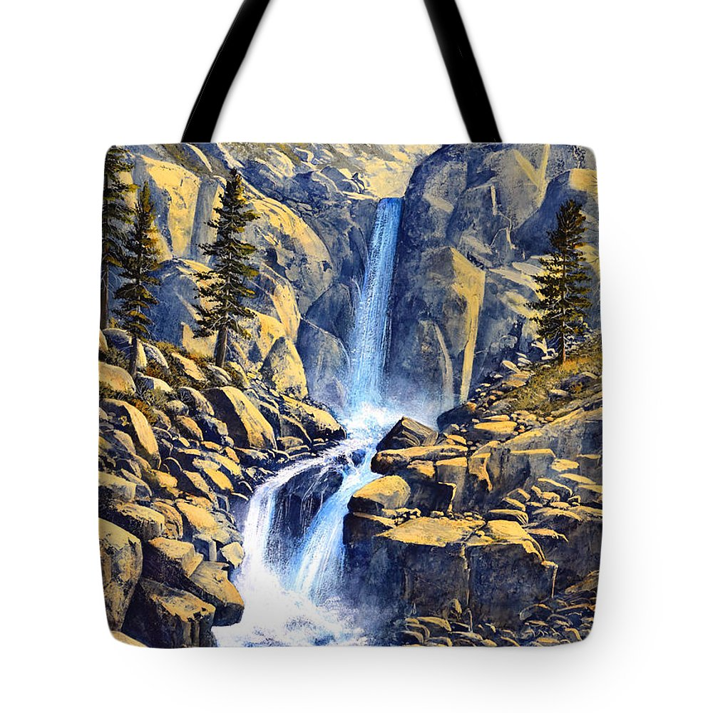 Wilderness Waterfall Tote Bag featuring the painting Wilderness Waterfall by Frank Wilson