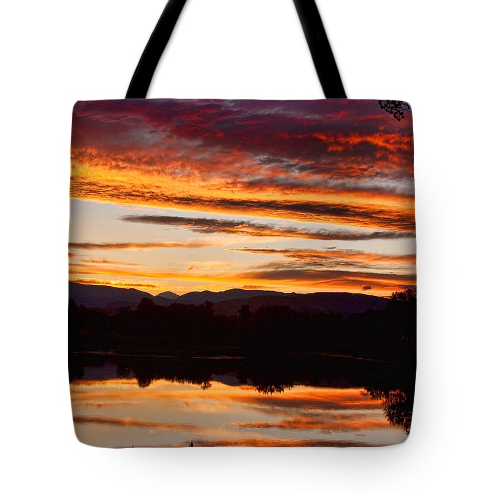 Sunset Tote Bag featuring the photograph Wildfire Sunset 1v by James BO Insogna