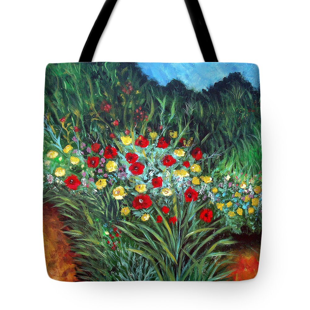 Abstract Tote Bag featuring the painting Wildflower Garden 1 by Nancy Mueller