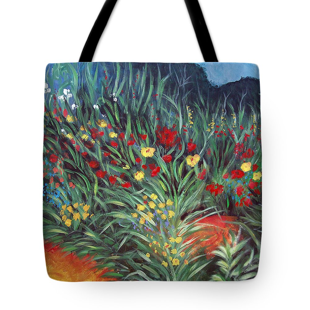 Landscape Tote Bag featuring the painting Wildflower Garden 2 by Nancy Mueller