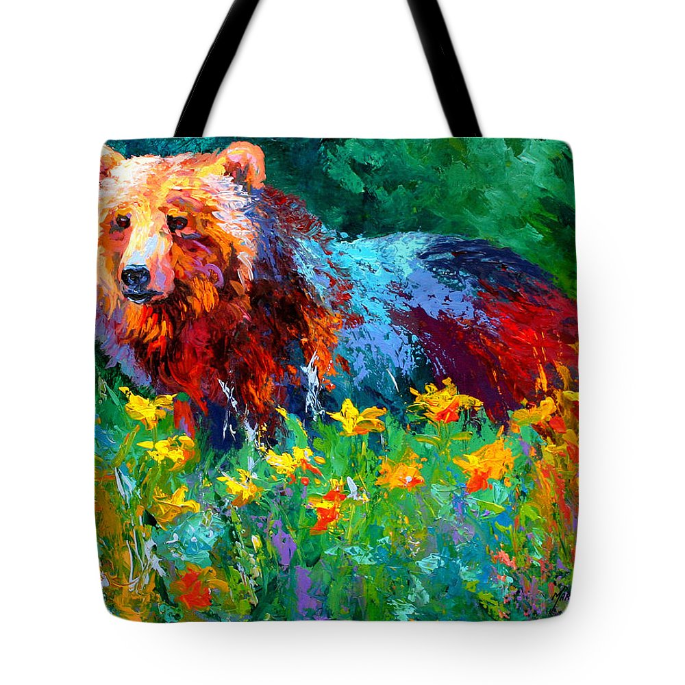 Bear Tote Bag featuring the painting Wildflower Grizz II by Marion Rose