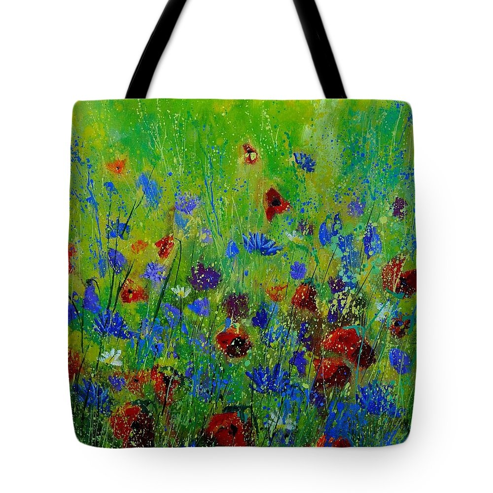 Flowers Tote Bag featuring the painting Wildflowers 560121 by Pol Ledent