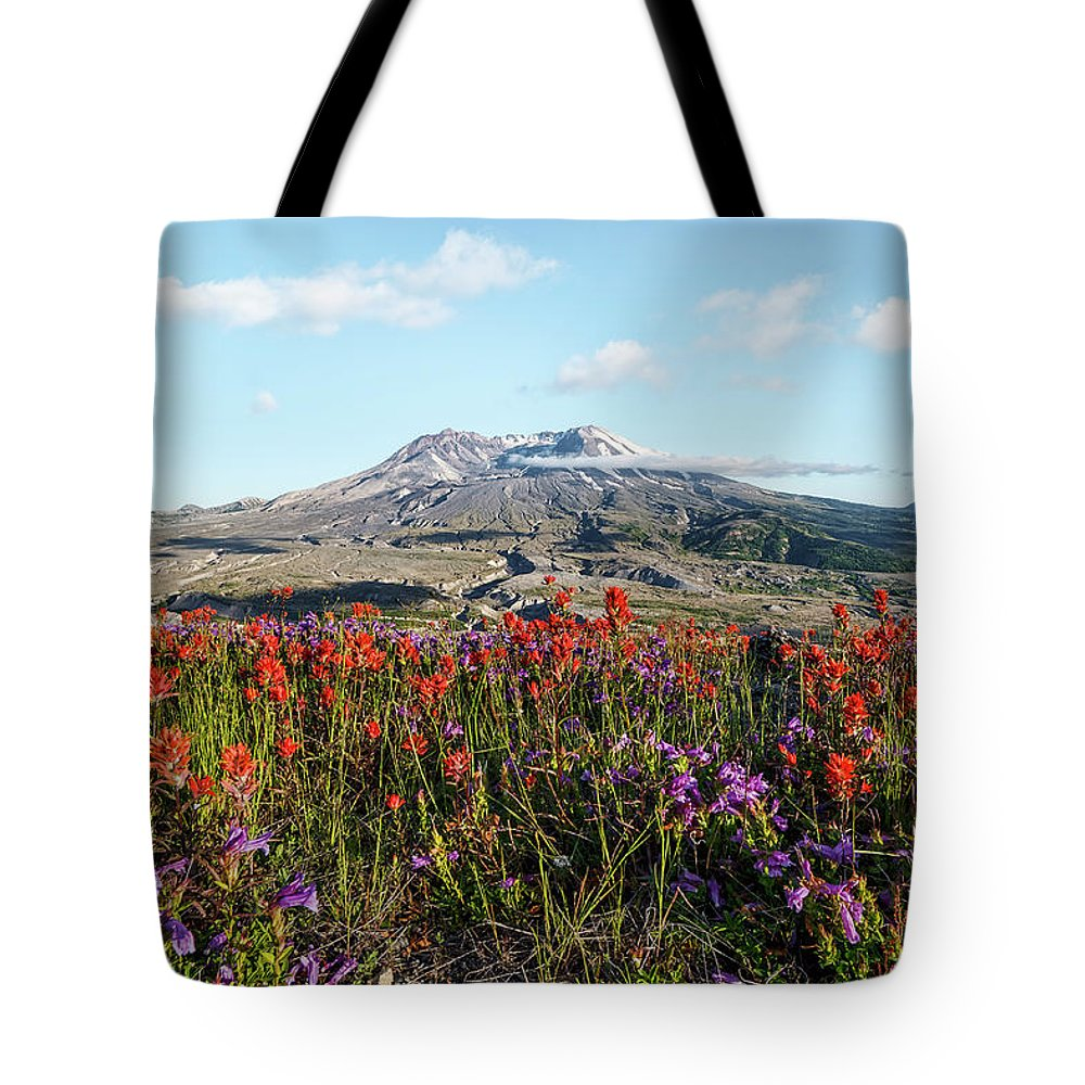 Wildflowers At Mount St Helens Tote Bag featuring the photograph Wildflowers At Mount St Helens by Wes and Dotty Weber