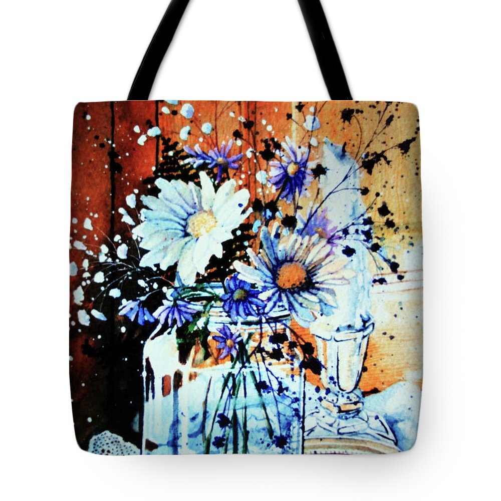 Wildflowers In A Mason Jar Tote Bag featuring the painting Wildflowers In A Mason Jar by Hanne Lore Koehler