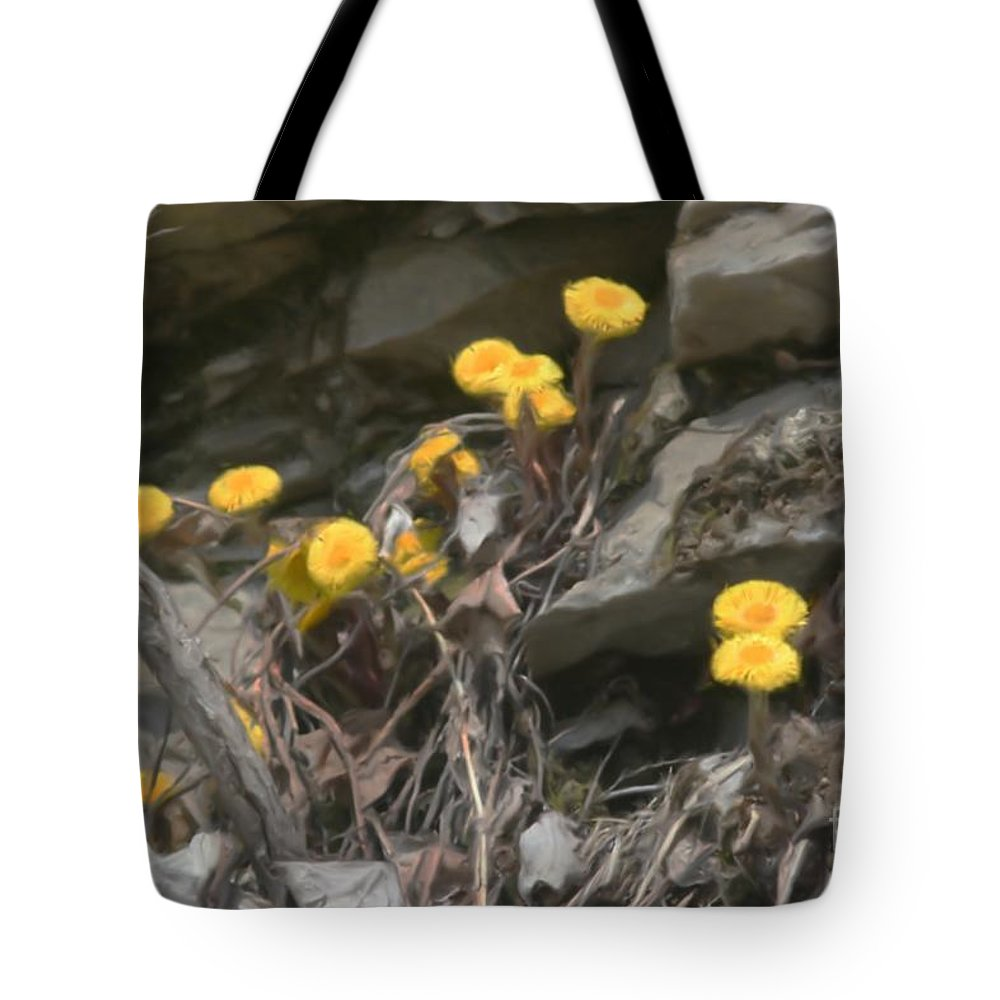 Flower Tote Bag featuring the painting Wildflowers In Rocks by Smilin Eyes Treasures