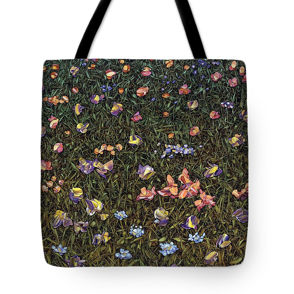 Wildflowers Tote Bag featuring the painting Wildflowers by James W Johnson