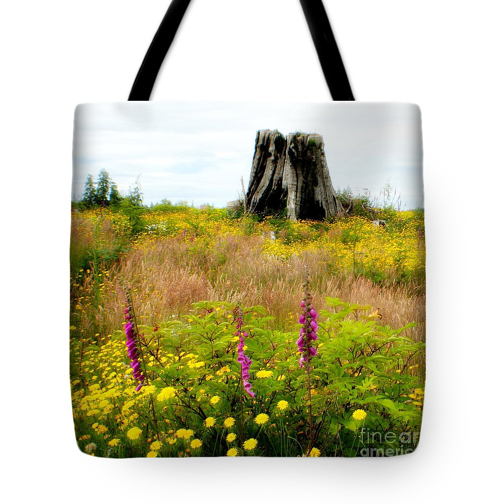 Stump Tote Bag featuring the photograph Wildflowers by Idaho Scenic Images Linda Lantzy