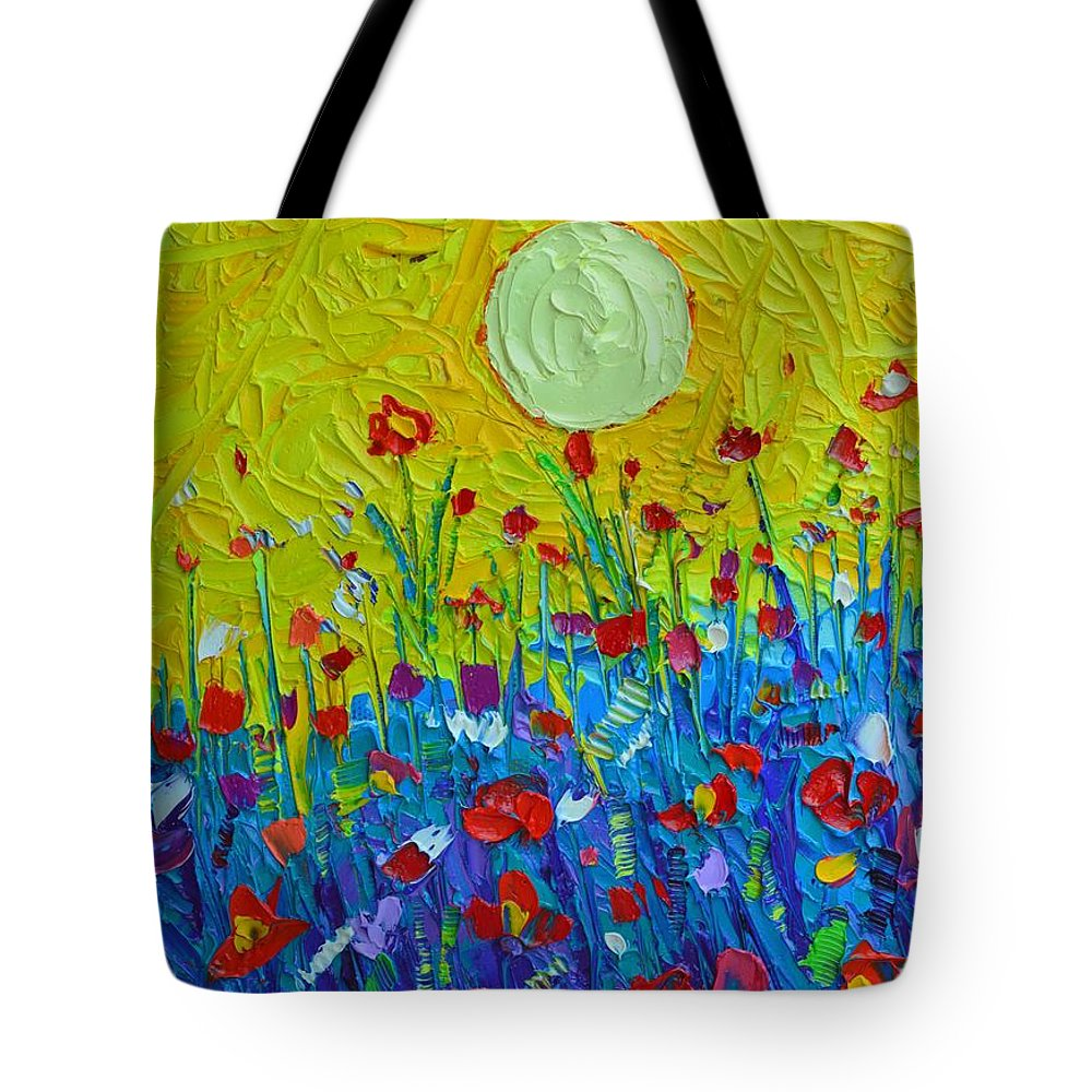 Wildflowers Tote Bag featuring the painting Wildflowers Meadow Sunrise by Ana Maria Edulescu