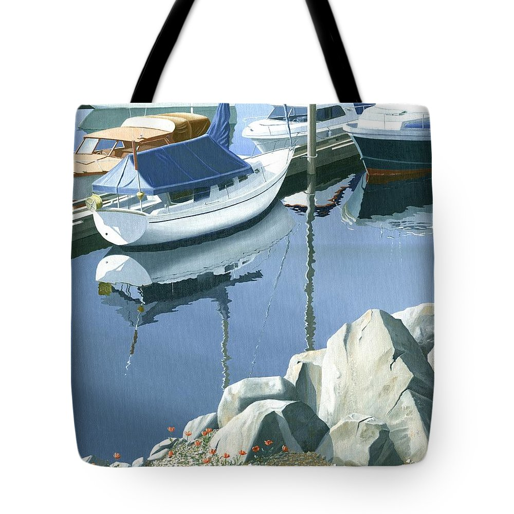 Sailboat Tote Bag featuring the painting Wildflowers On The Breakwater by Gary Giacomelli
