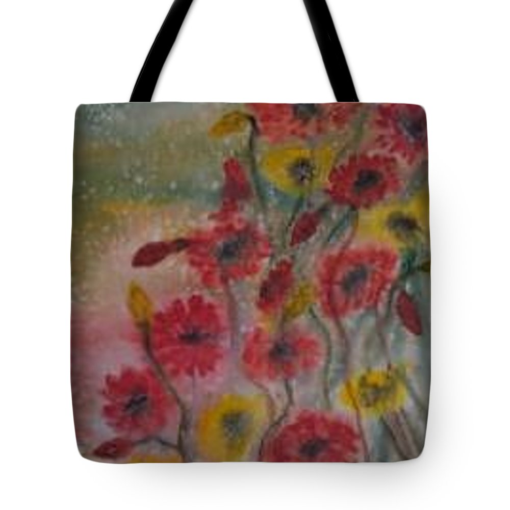Watercolor Tote Bag featuring the painting Wildflowers Still Life Modern Print by Derek Mccrea