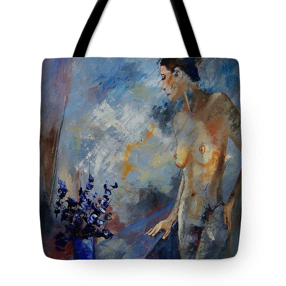 Girl Tote Bag featuring the painting Will He Be Coming by Pol Ledent