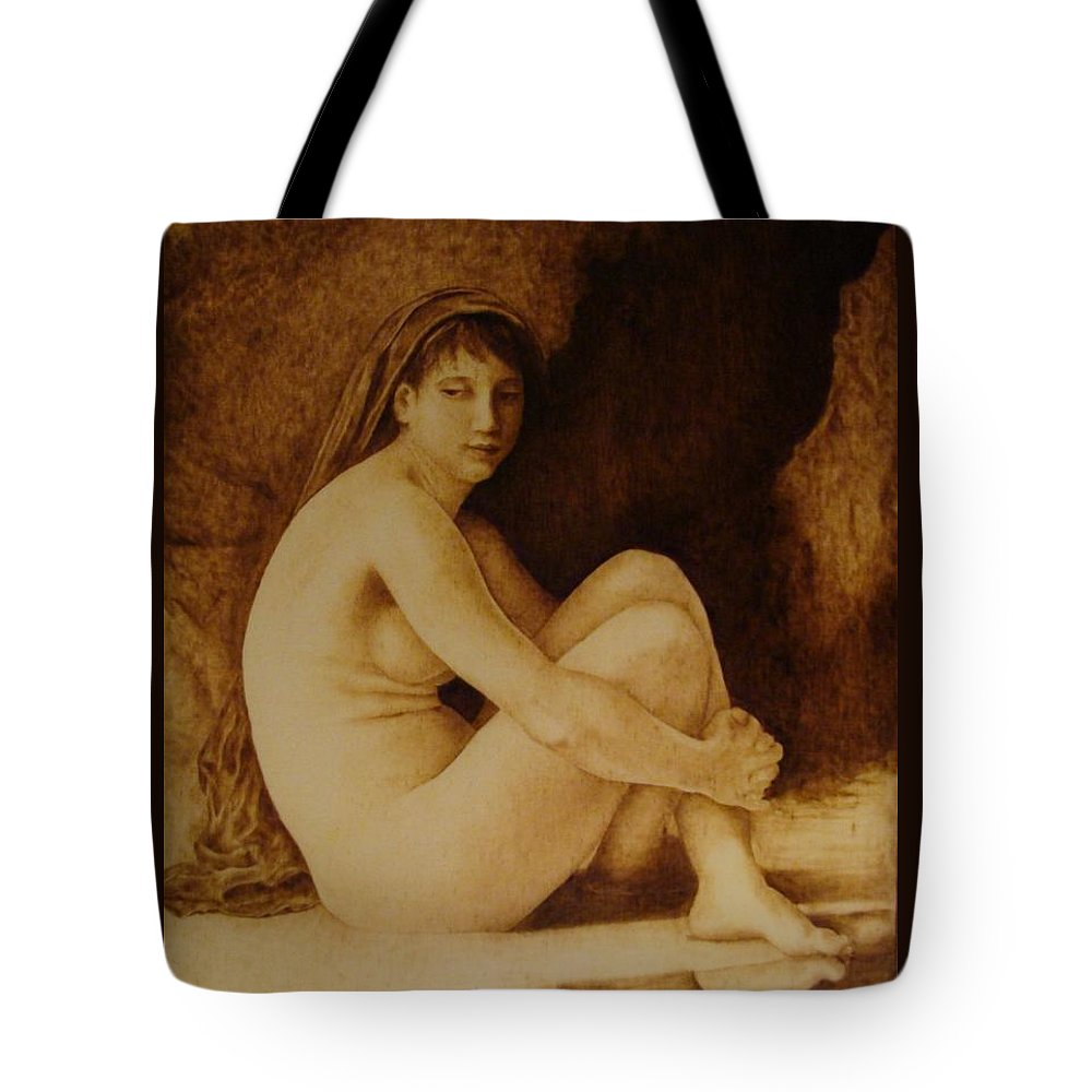 Pyrogrpahy; Woodburning; Nude; Bathing; Cave Tote Bag featuring the pyrography William Bouguereau Seated Nude by Jo Schwartz