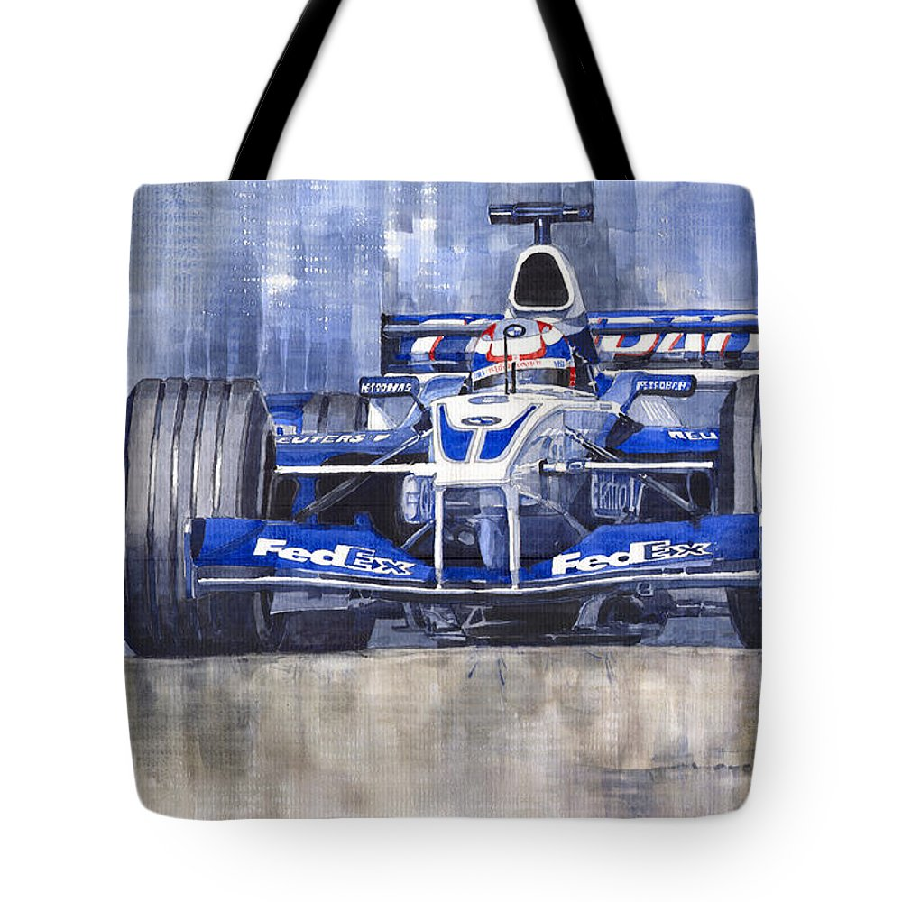 Watercolour Tote Bag featuring the painting Williams Bmw Fw24 2002 Juan Pablo Montoya by Yuriy Shevchuk