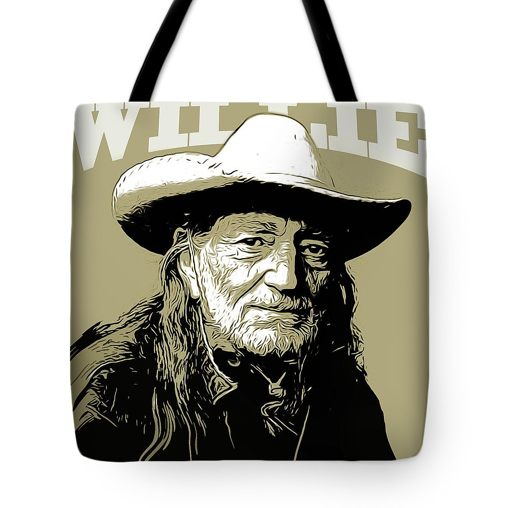 Willie Nelson Tote Bag featuring the mixed media Willie by Greg Joens