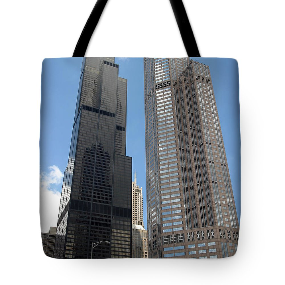 3scape Tote Bag featuring the photograph Willis Tower aka Sears Tower and 311 South Wacker Drive by Adam Romanowicz