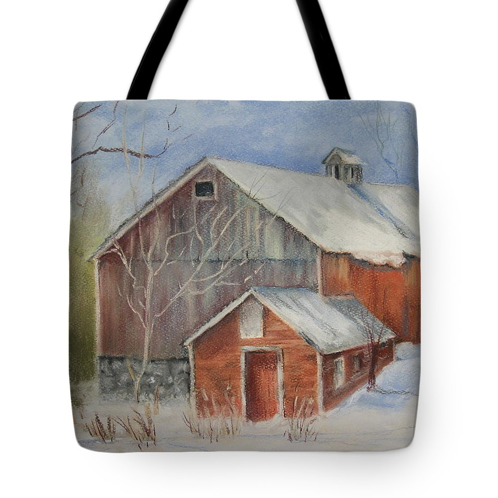 Barn Tote Bag featuring the painting Williston Barn by Carol Mueller