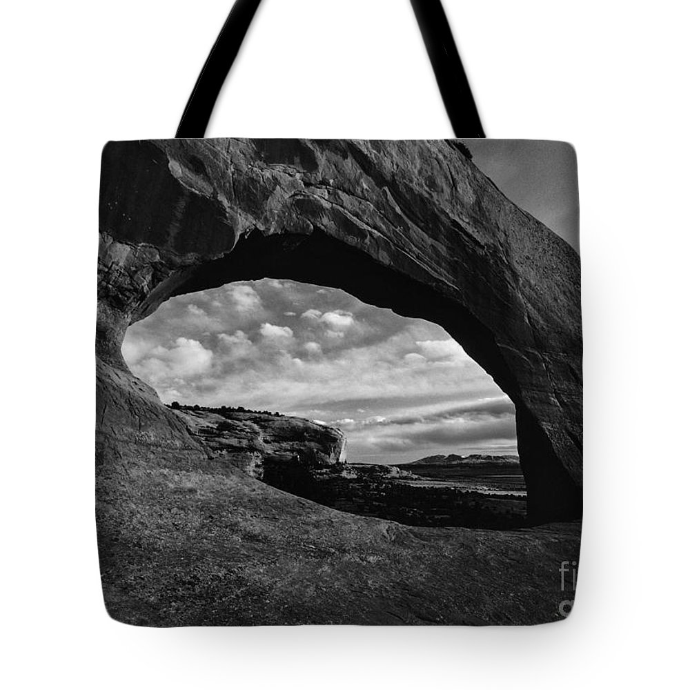 Wilson Arch Utah Landscape Scene Scenery Natural Bridge Black White Monochrome Tote Bag featuring the photograph Wilson Arch No 3 by Ken DePue