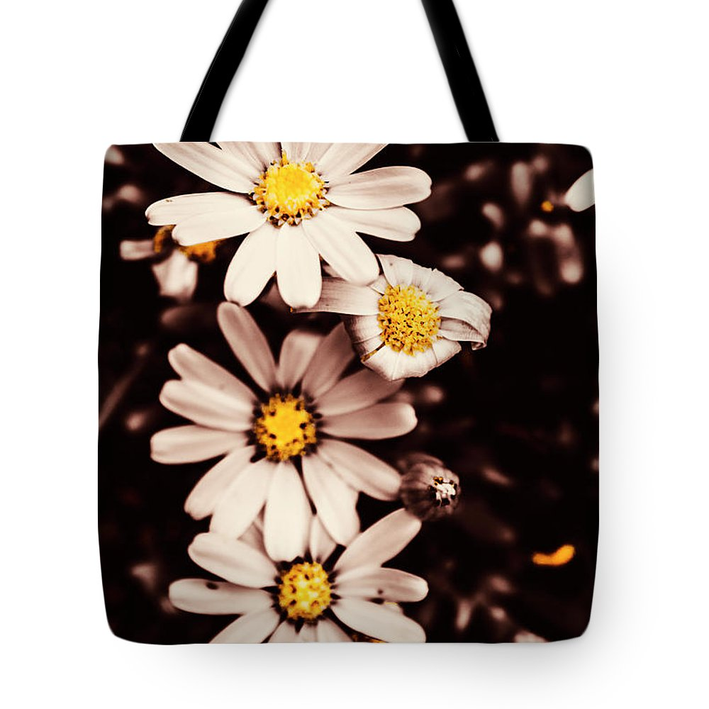 Background Tote Bag featuring the photograph Wilting And Blooming Floral Daisies by Jorgo Photography - Wall Art Gallery