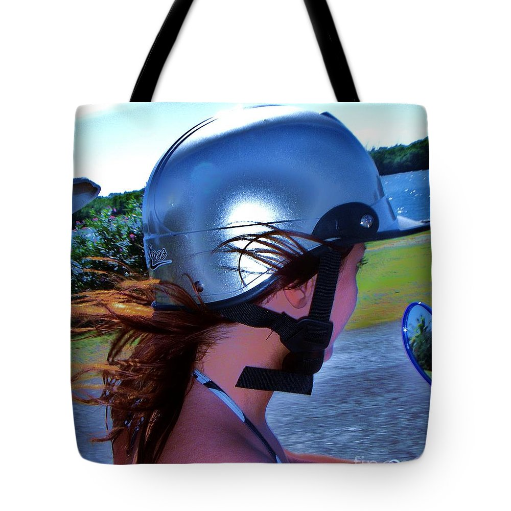 Scooter Tote Bag featuring the photograph Wind In The Hair by Vesna Antic