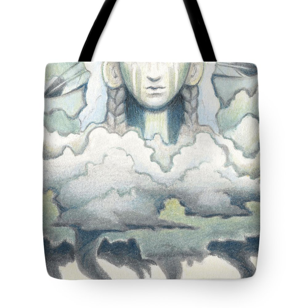 Atc Tote Bag featuring the drawing Wind Spirit Dances by Amy S Turner