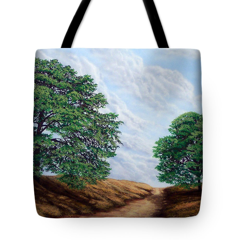 Landscape Tote Bag featuring the painting Windblown Clouds by Frank Wilson