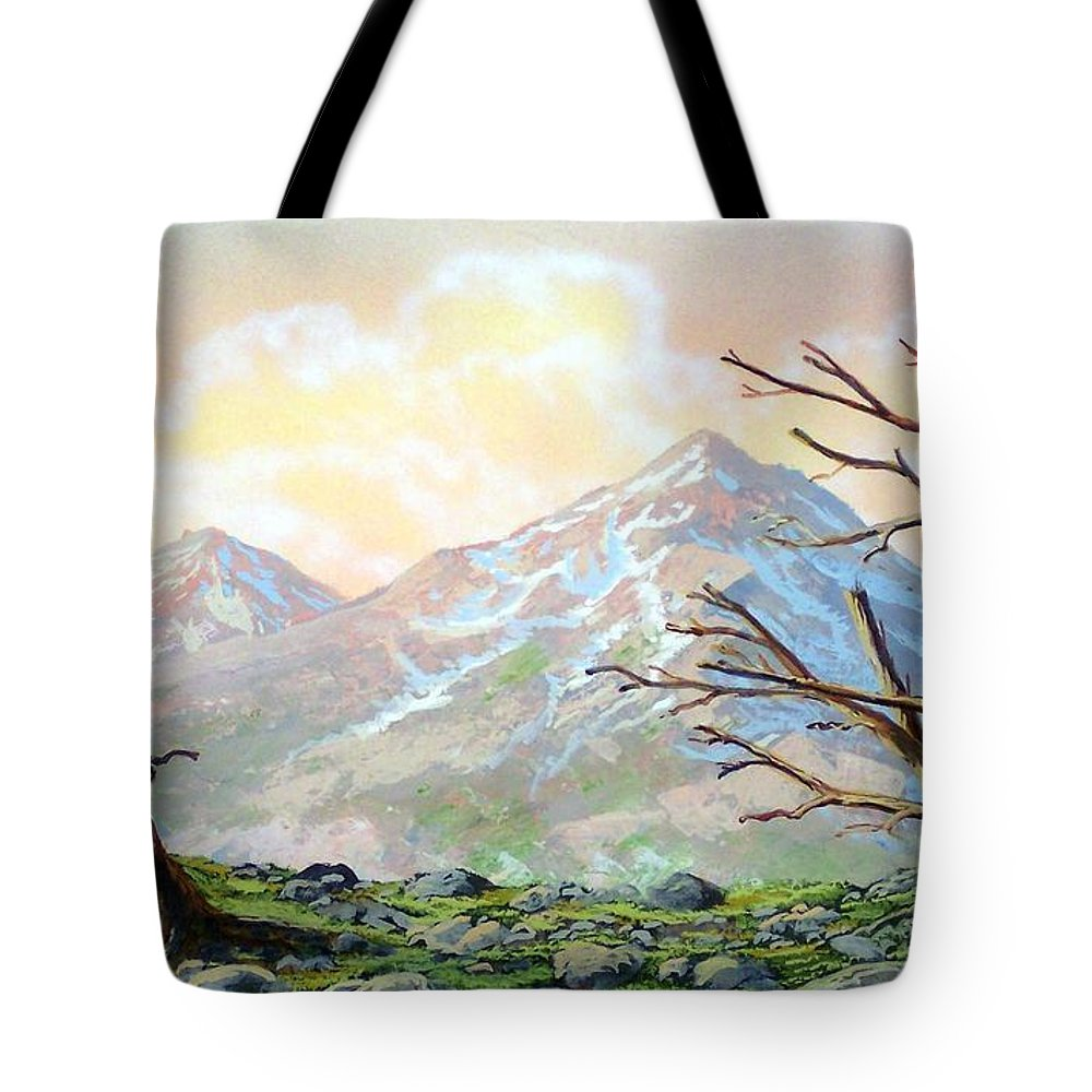 Windblown Tote Bag featuring the painting Windblown by Frank Wilson
