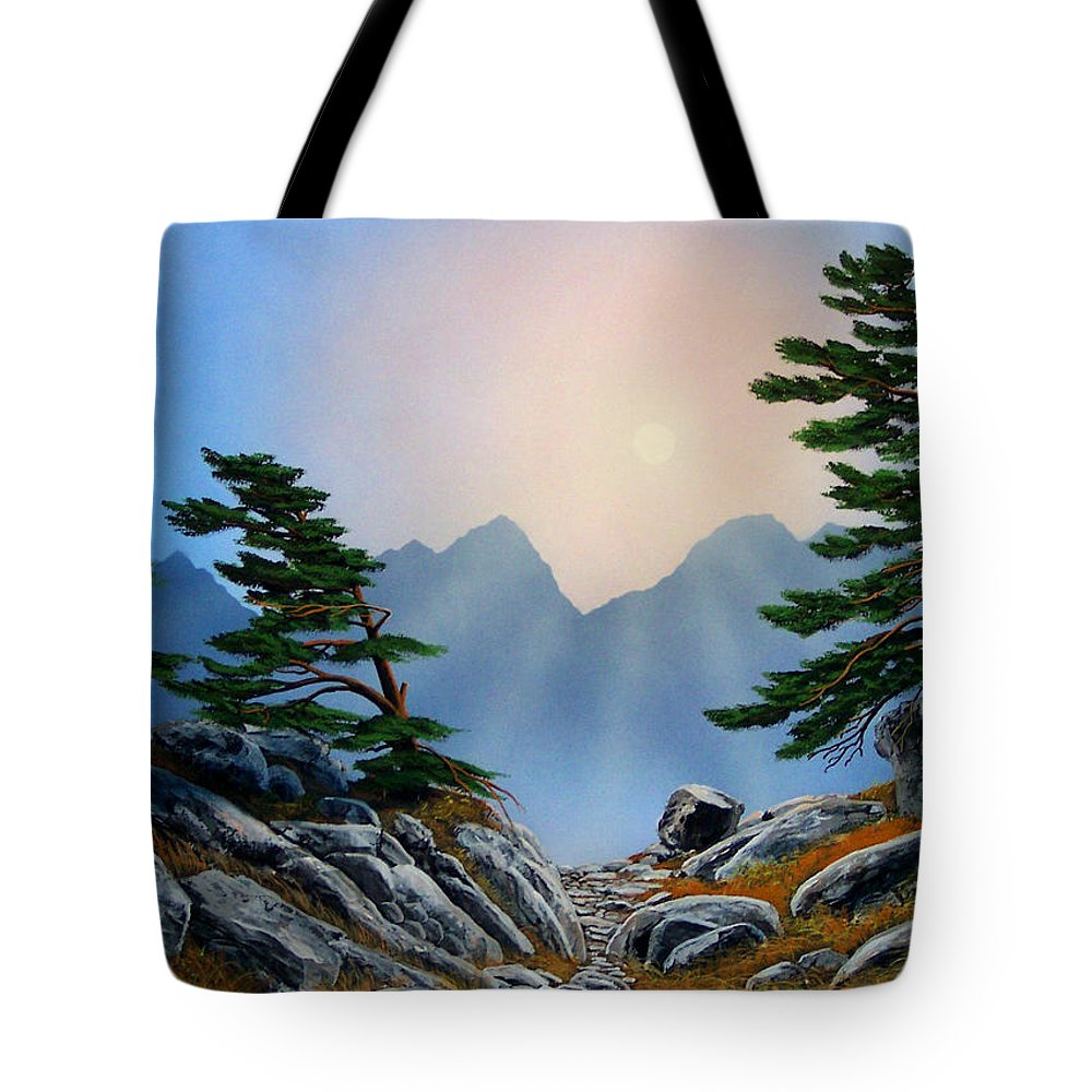 Windblown Pines Tote Bag featuring the painting Windblown Pines by Frank Wilson