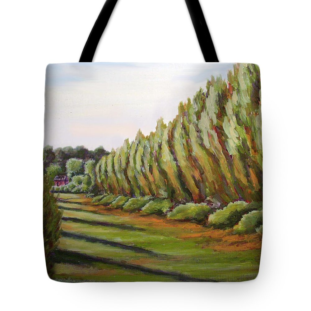 Oil Painting Tote Bag featuring the painting Windbreak Evening by Karla Beatty
