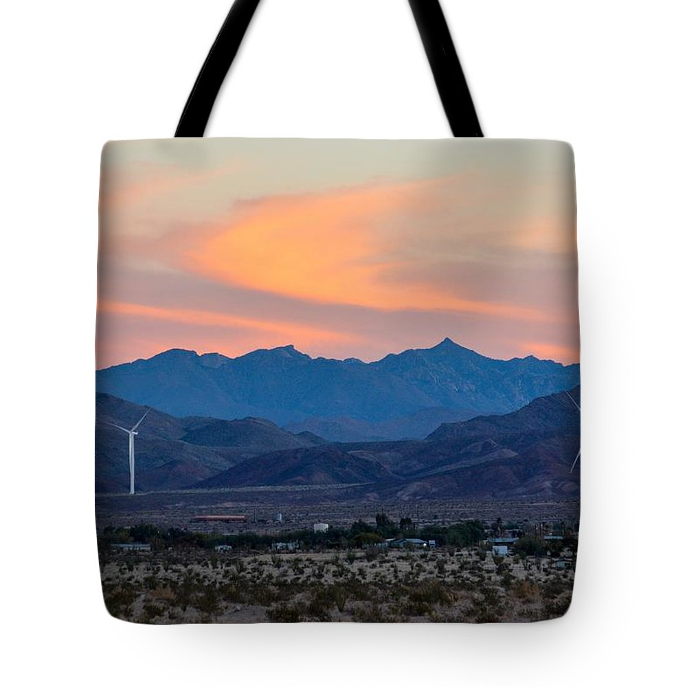 Windmill Tote Bag featuring the photograph Windmill Desert Sunset by Royal Tyler