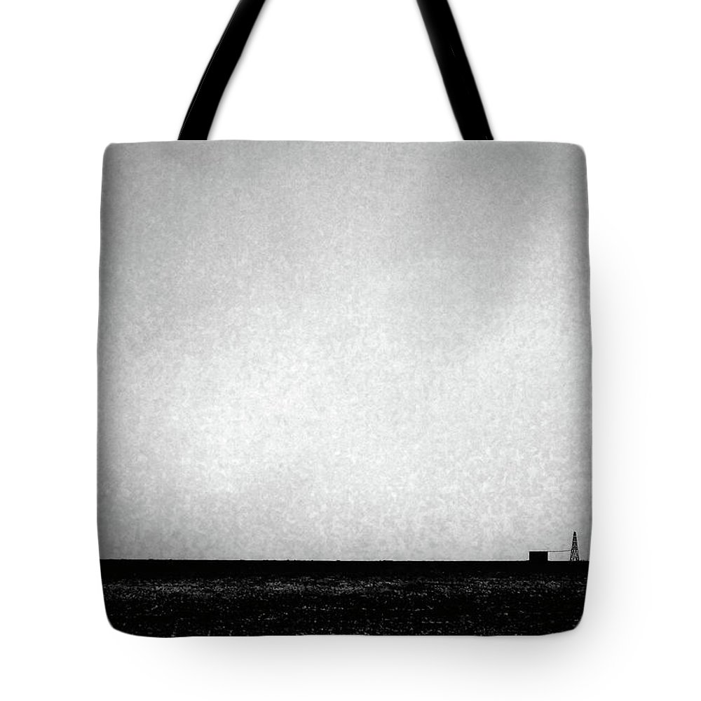 Wasteland Tote Bag featuring the photograph Windmill In Black And White by Scott Sawyer