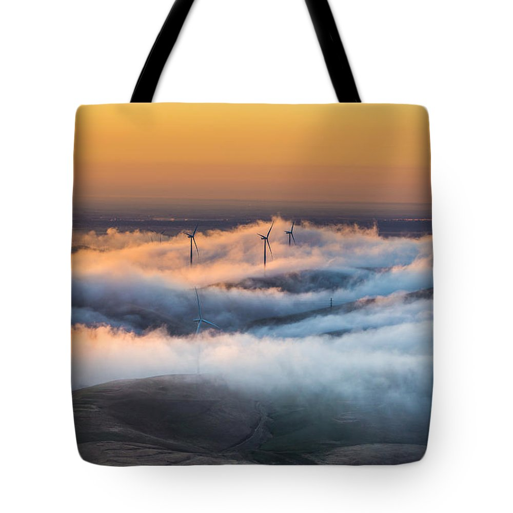Landscape Tote Bag featuring the photograph Windmills And Hills by Marc Crumpler