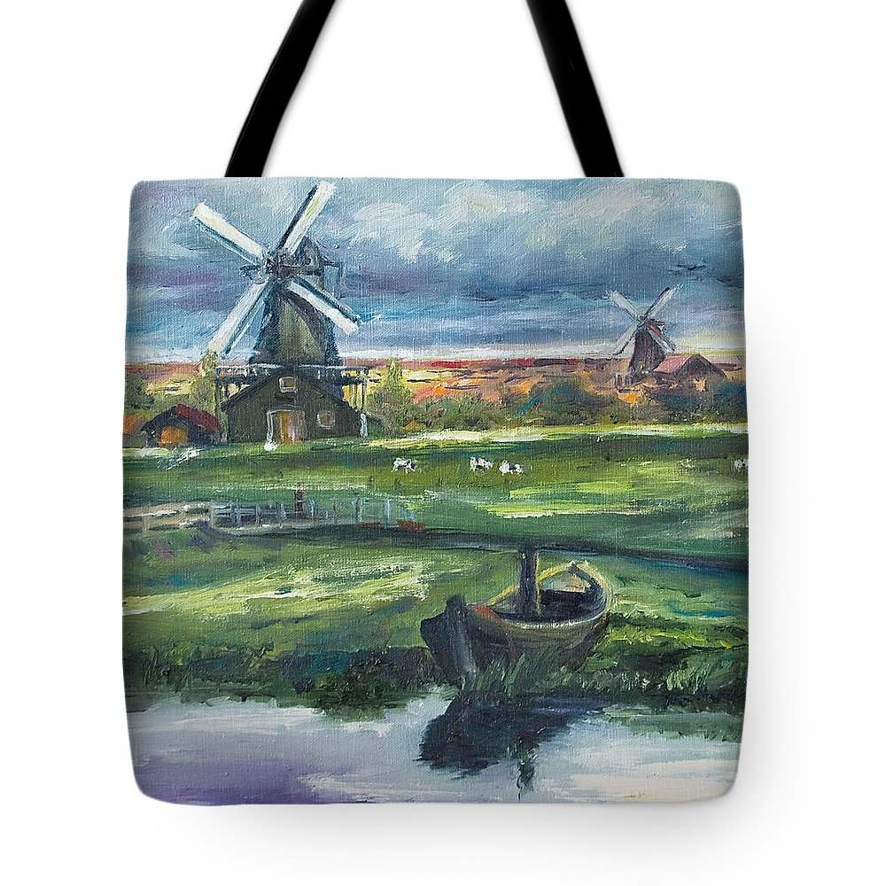 Water Tote Bag featuring the painting Windmills by Rick Nederlof