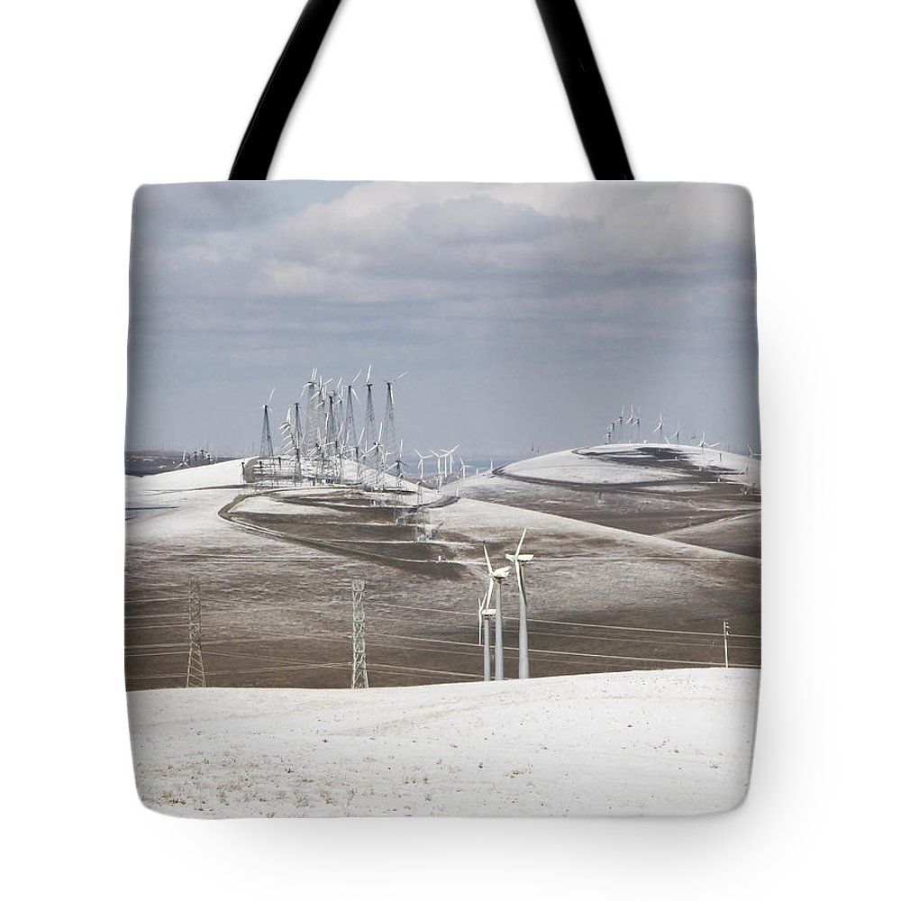 Patterson Pass Tote Bag featuring the photograph Windmils In Snow by Karen W Meyer