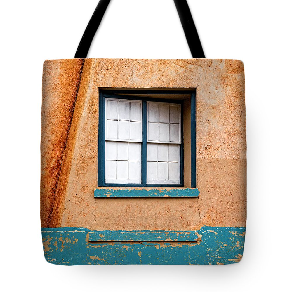 Santa Fe Tote Bag featuring the mixed media Window And Adobe Walls by Carol Leigh