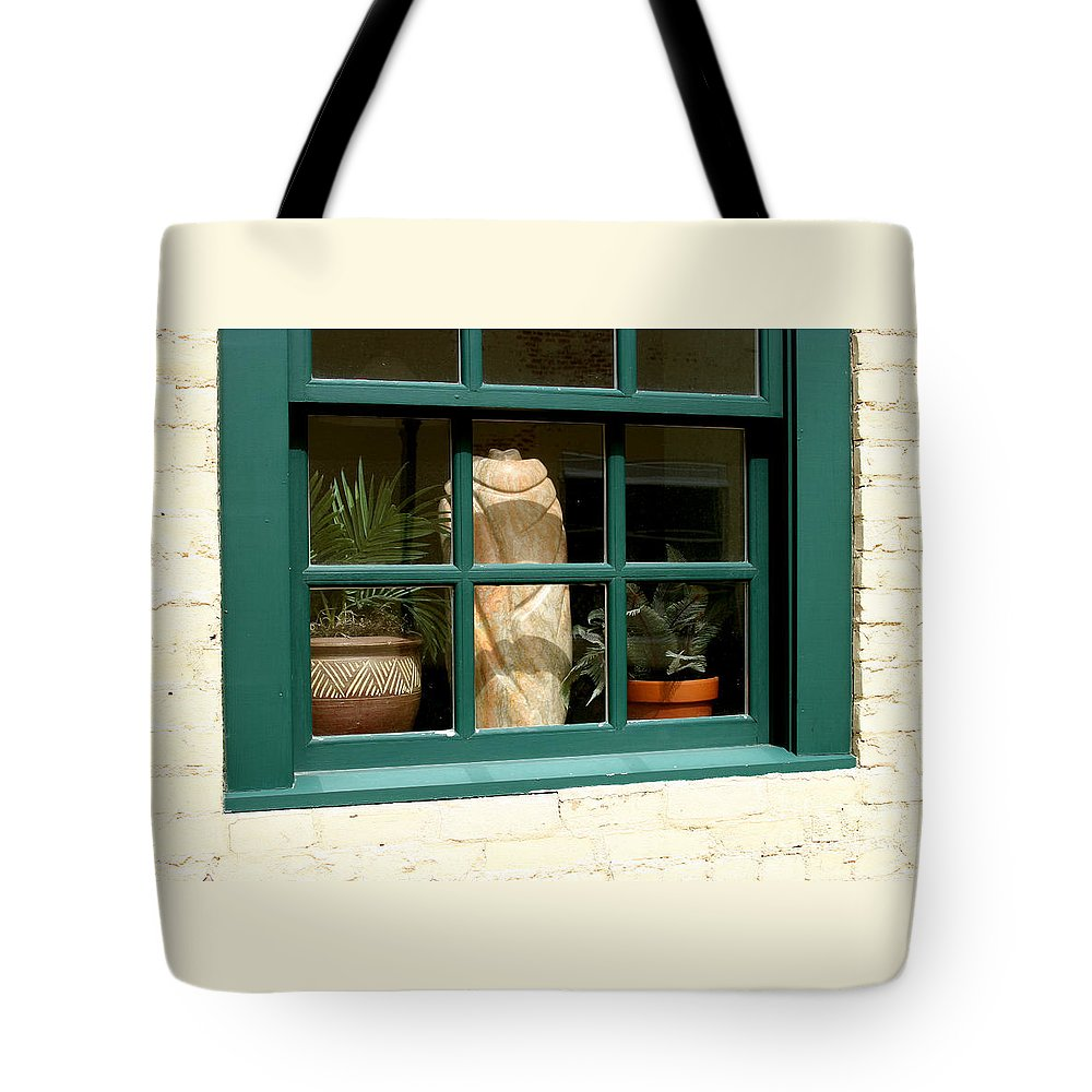 Fern Tote Bag featuring the photograph Window At Sanders Resturant by Steve Augustin
