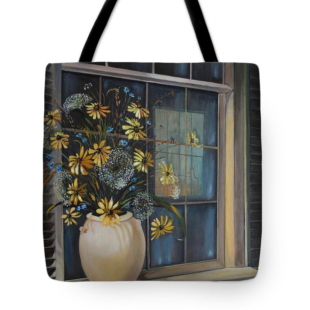 Wild Flowers Tote Bag featuring the painting Window Dressing - Lmj by Ruth Kamenev