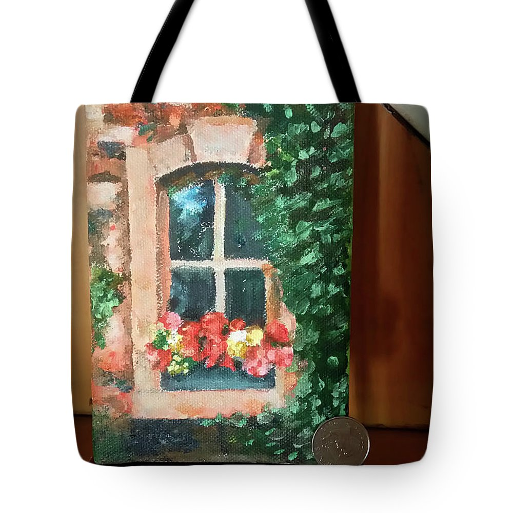 Mini Acrylic Painting With Easet Tote Bag featuring the painting Window by My Caguioa