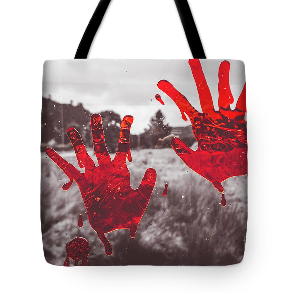 Bloody Tote Bag featuring the photograph Window Pain by Jorgo Photography - Wall Art Gallery