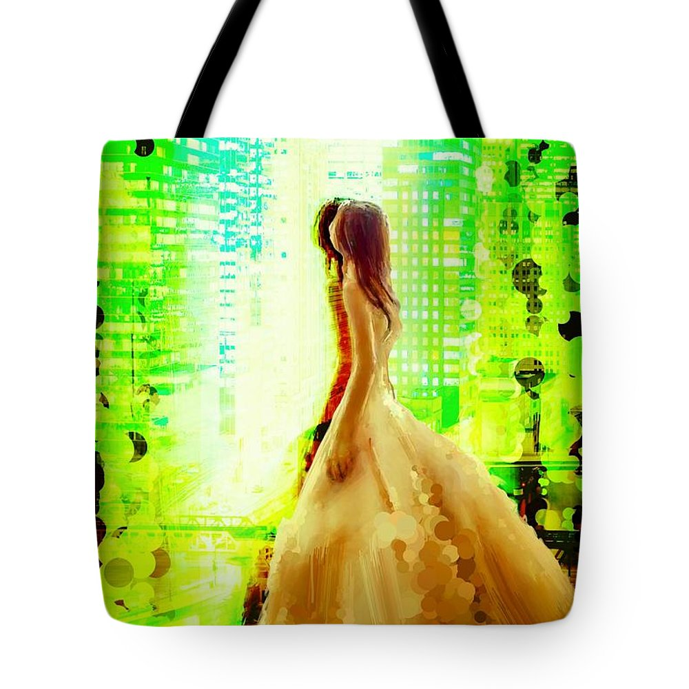 Uzart Tote Bag featuring the digital art Window Reflection #0065 by Urszula Zogman