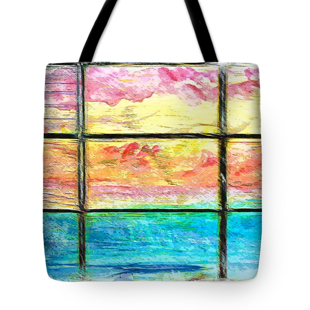 Abstract Tote Bag featuring the photograph Window Scene Abstract by Tom Gowanlock