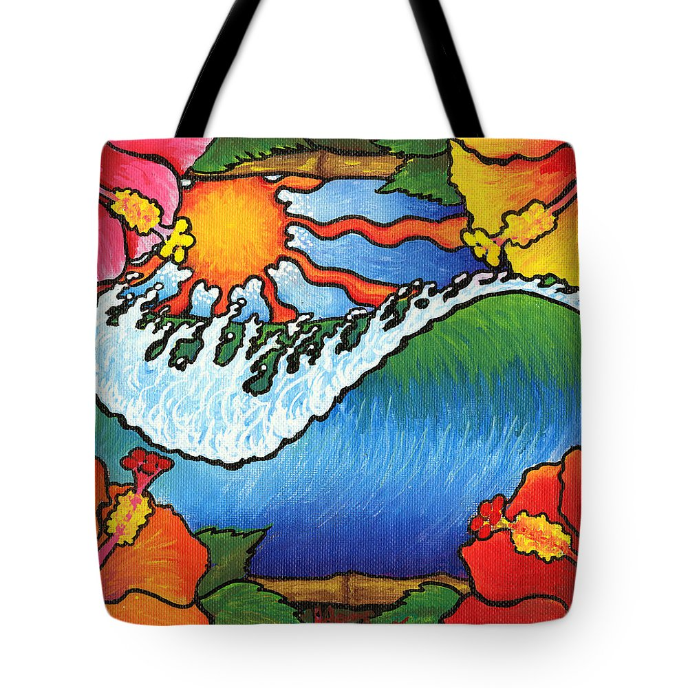 Surf Tote Bag featuring the painting Window To The Tropics by Adam Johnson