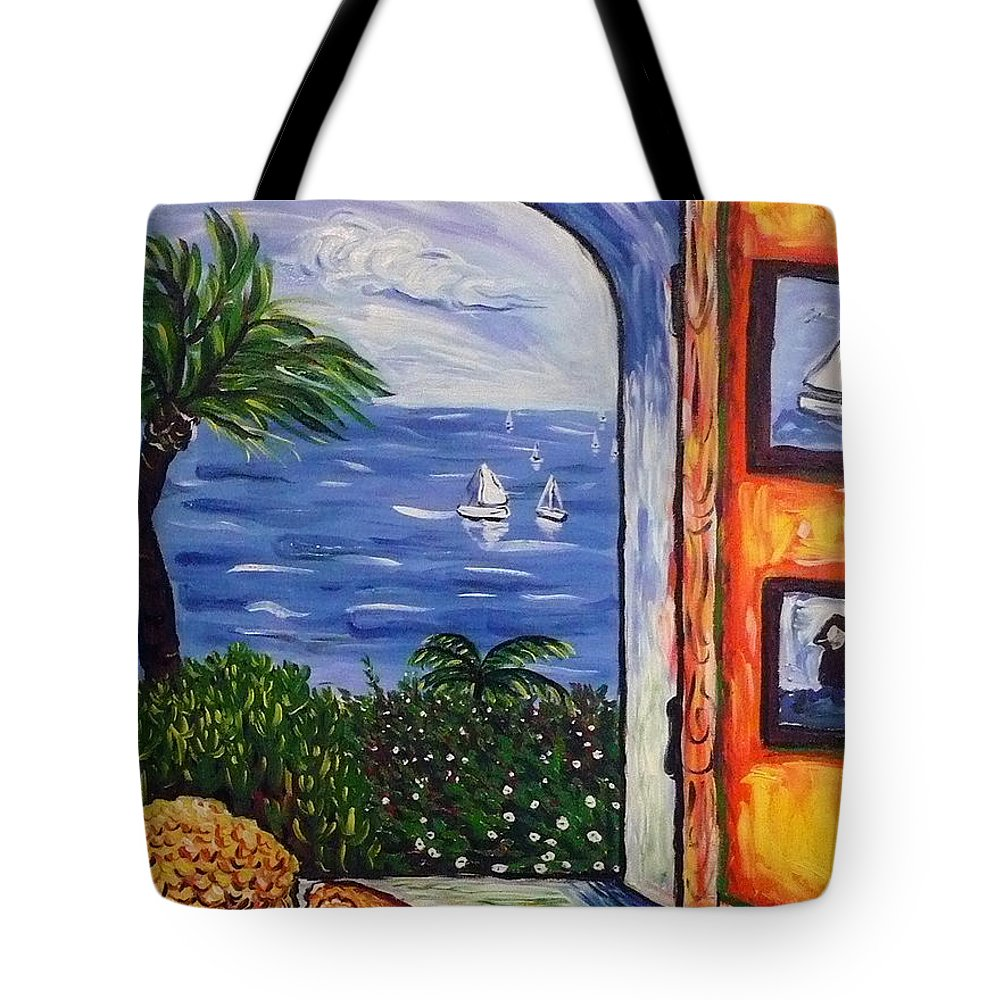 Landscape Tote Bag featuring the painting Window With Coral by Ericka Herazo