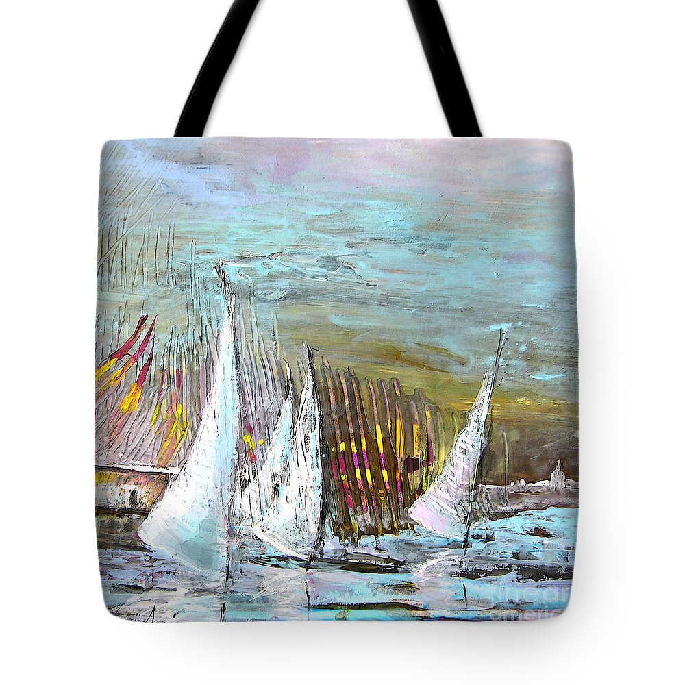 Acrylics Tote Bag featuring the painting Windsurf Impression 03 by Miki De Goodaboom