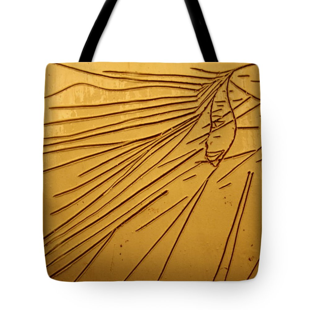 Jesus Tote Bag featuring the ceramic art Windswept - Tile by Gloria Ssali